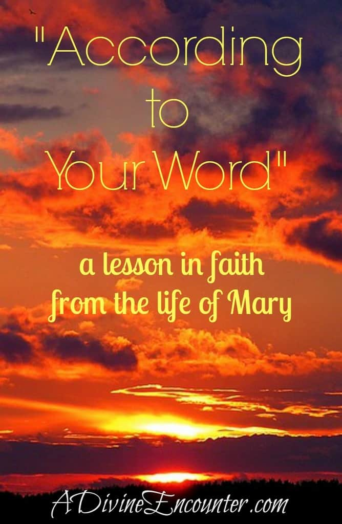 "A must-read article about living in faith, based on Mary's life. Her response to the unexpected was, ""Let it be done to me according to your word."" http://adivineencounter.com/according-to-your-word"