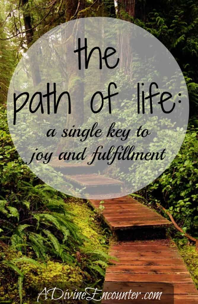 Uplifting post revealing the key to joy and fulfillment in life. (Psalm 16:11) https://adivineencounter.com/monday-minute-the-path-of-life