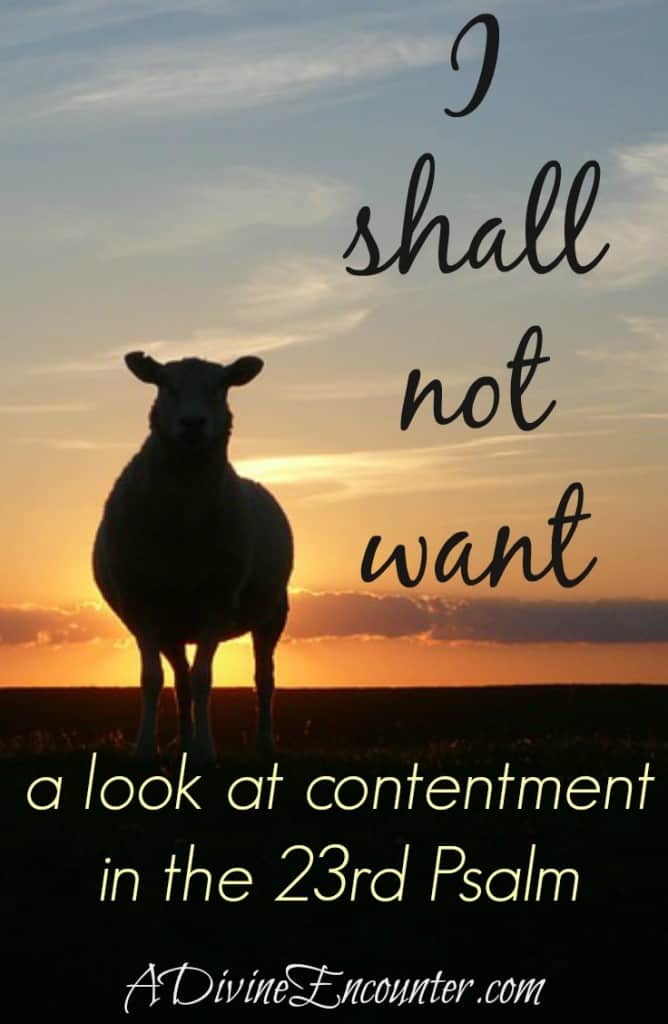 Powerful post exploring contentment through the lens of the 23rd Psalm. https://adivineencounter.com/i-shall-not-want