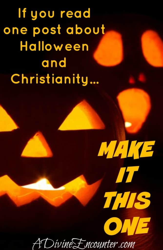 If you read one article about Halloween and Christianity, make it this one! Offers a fresh perspective, biblical principles, & a fantastic idea for families! (Matthew 5:13-16) http://adivineencounter.com/to-treat-or-not-to-treat